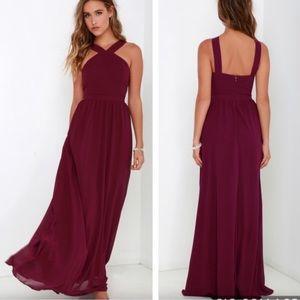 Lulu's Air of Romance Burgundy Long Formal Dress
